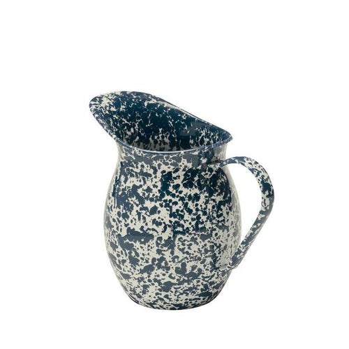 Vintage Style Small Enamel Pitcher, Navy and Cream Splatter