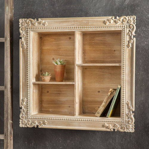 LARGE White Washed Carved Wood Shadow Box