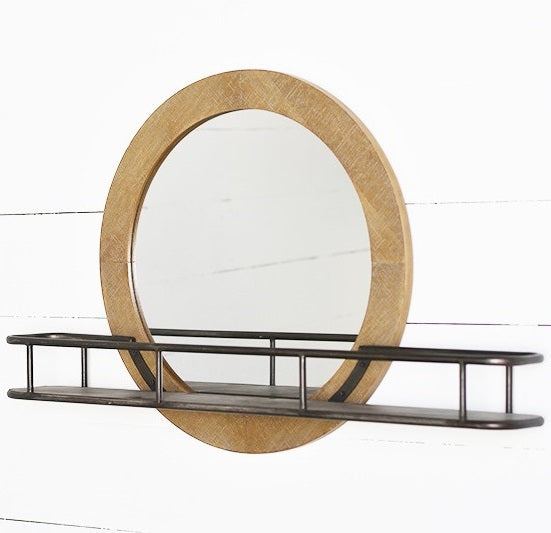 LARGE Round Wall Mirror with Shelf