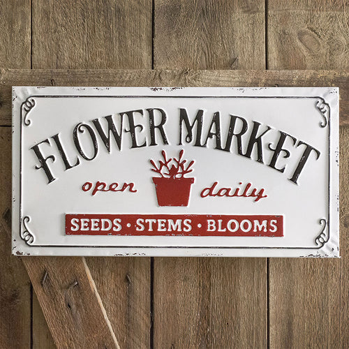 Vintage Embossed Metal Flower Market Sign