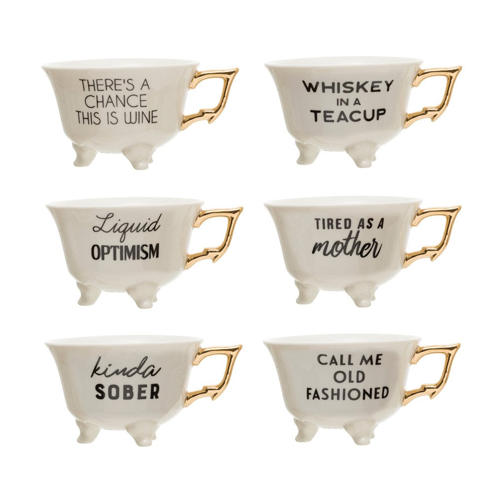 Stoneware Footed Sentiment Mugs, Set of 6