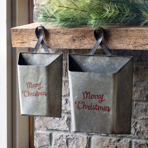 Merry Christmas Metal Wall Pockets, Set of 2