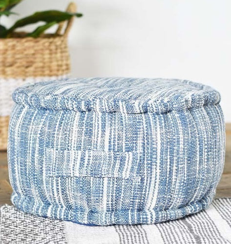 Blue and White Stripe Cotton Floor Pillow/Pouf