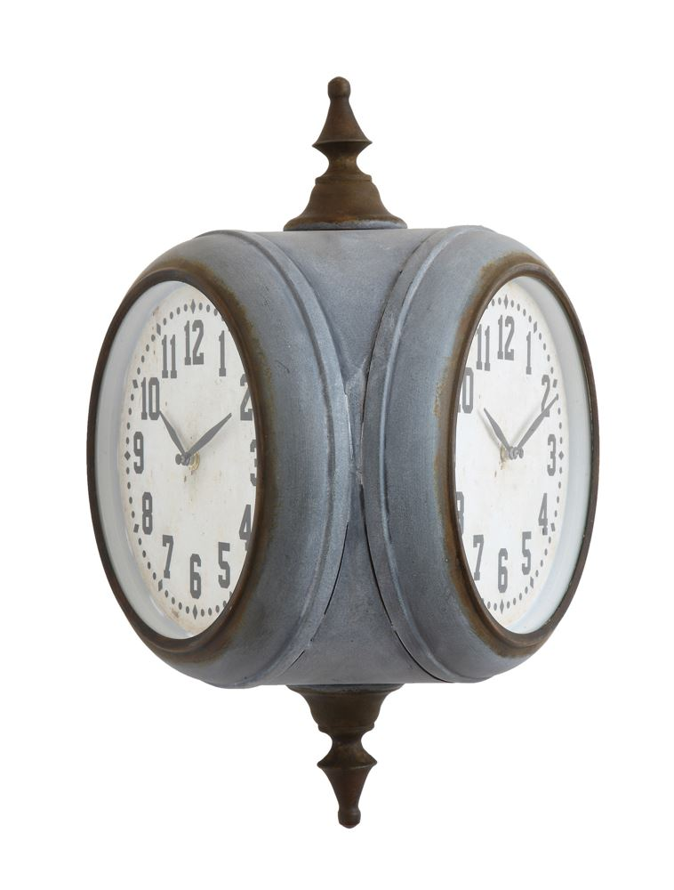 metal double sided train station wall clock