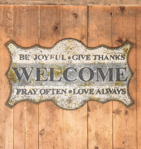 Vintage Embossed Metal WELCOME Sign
