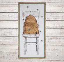 HUGE Wood Framed Canvas Beehive Wall Decor