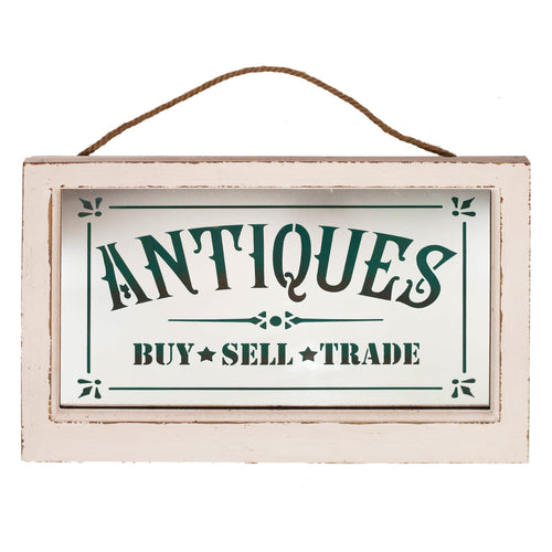 Wood Framed Mirror ANTIQUES Sign