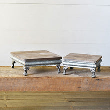 Tin and Wood Risers, Set of 2