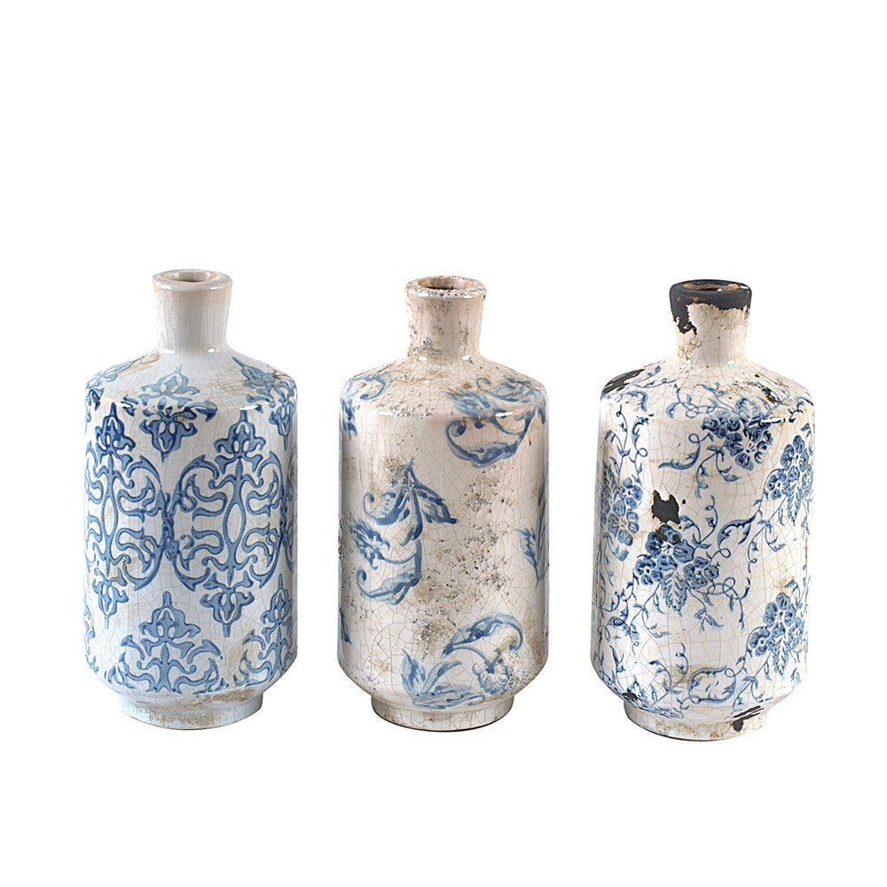 Distressed Vintage Style Floral Stamped Vases, Set of 3