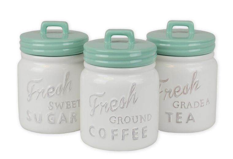Ceramic Mint and White Ceramic Canisters, Set of 3