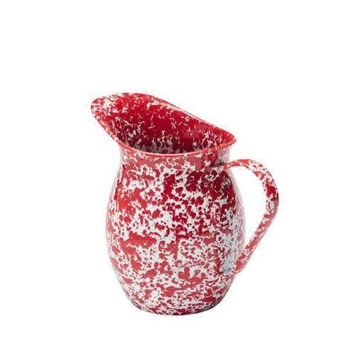 Vintage Style Small Enamel Pitcher, Red and White Splatter
