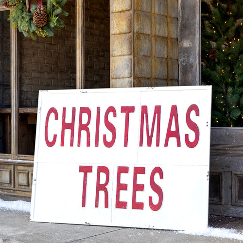 HUUUUGE Vintage Embossed Metal CHRISTMAS TREES Sign