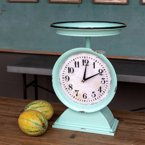 LARGE Vintage Enamel Aqua Produce Scale Clock