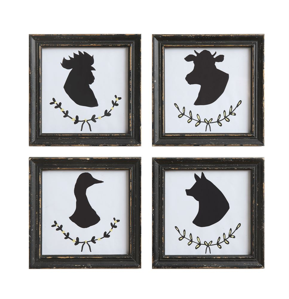 Wood Framed Farm Animal Wall Decor, Set of 4