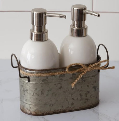 Ceramic Soap Dispensers with Galvanized Caddy