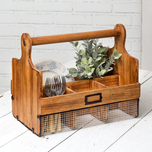 Rustic Cutting Board Kitchen Caddy
