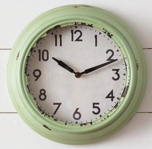 Pastel Green Retro Wall Clock
