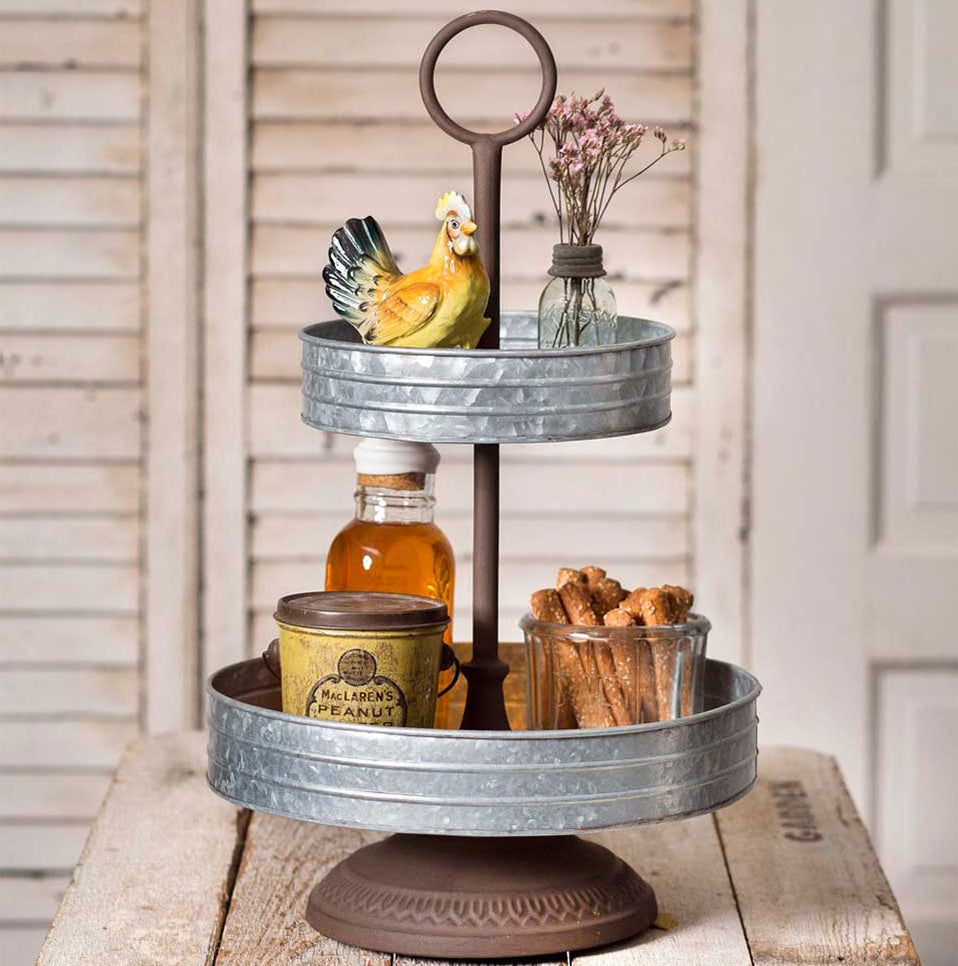 Annabeth Galvanized and Rust Two Tier Tray