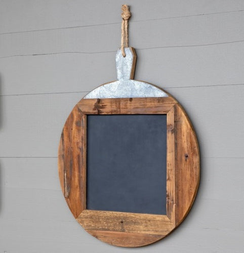 Large Wood Framed Round Hanging Chalkboard