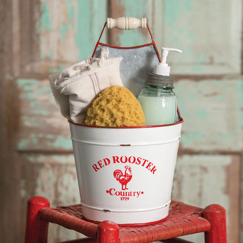 Vintage Style Enamel Red Rooster Bucket Caddy