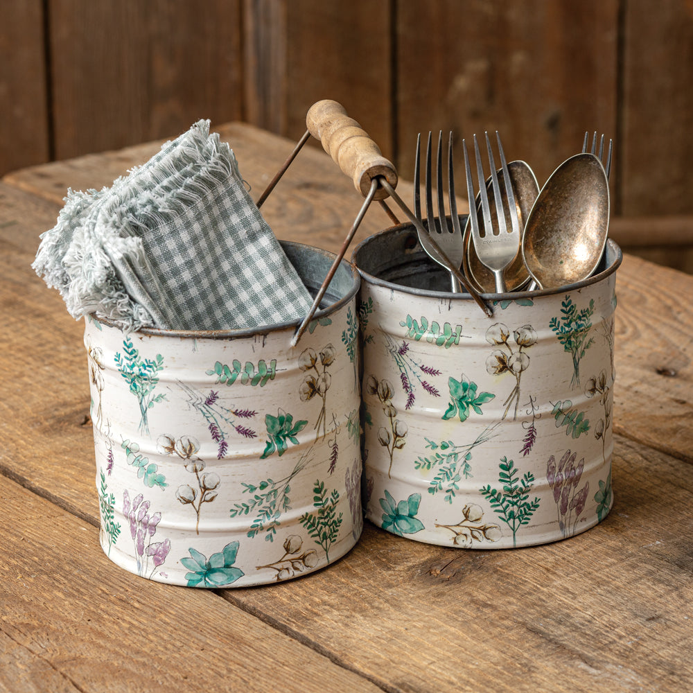 Shabby Chic Two Bucket Caddy with Wood Handle