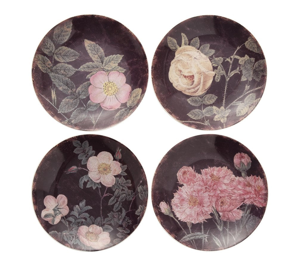 Vintage Rose Stoneware Plates, Set of 4