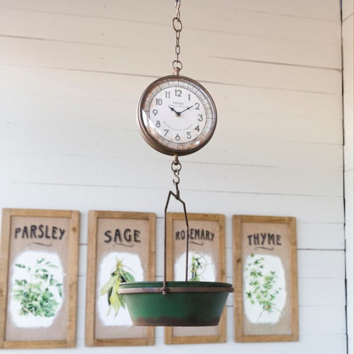 Vintage Inspired Green Hanging Grocery Scale Clock