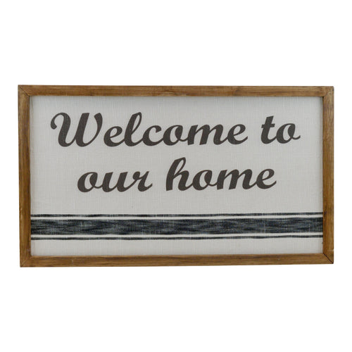 Wood and Canvas Welcome To Our Home Sign