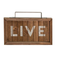 Live, Laugh, Love Slatted Wood Signs with Handles, Set of 3