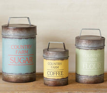 Dairy Barn Metal Canisters, Set of 3