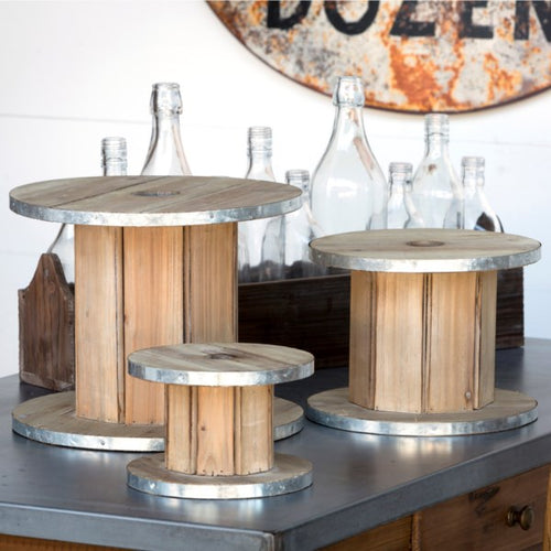 Wooden Spool Display Risers, Set of 3