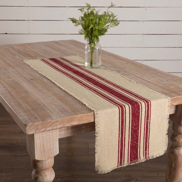 Vintage Style Burlap Red Stripe Table Runner