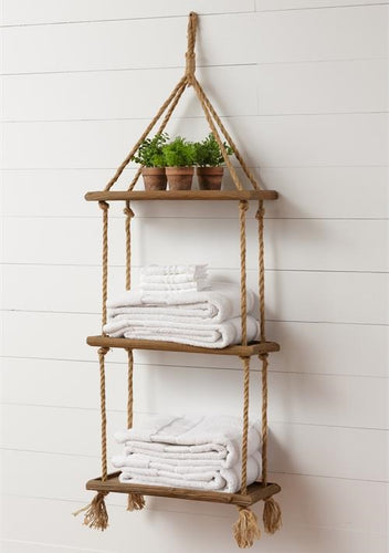 Three Tier Hanging Rope Shelf