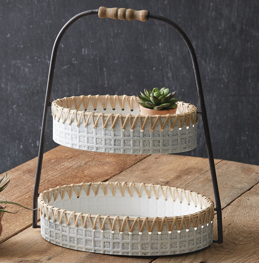Whitewash Metal and Cane Two Tier Tray