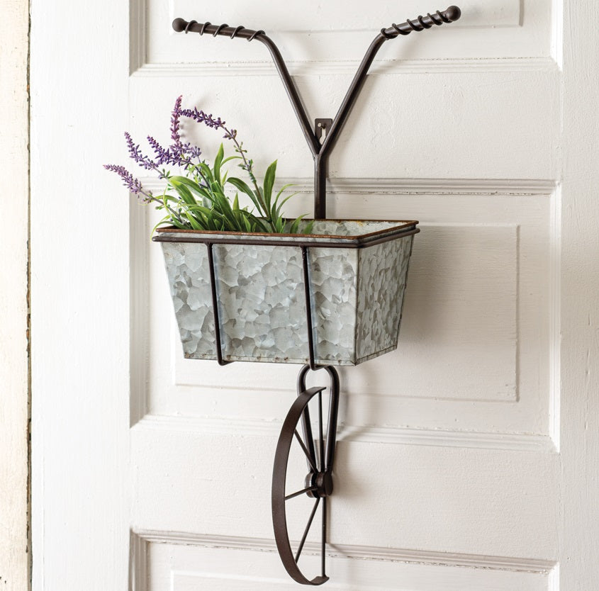 Bicycle with Galvanized Basket Wall Decor
