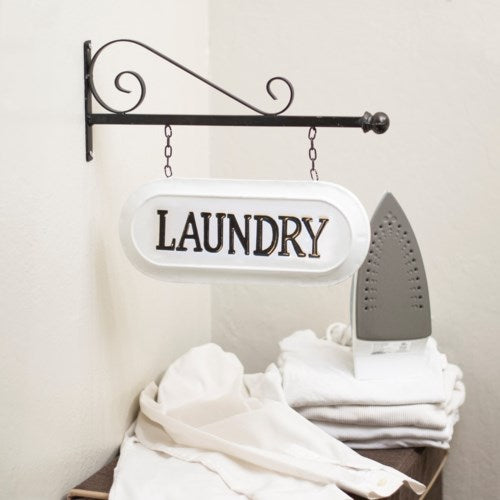 Enamel LAUNDRY Sign with Scroll Display Bar