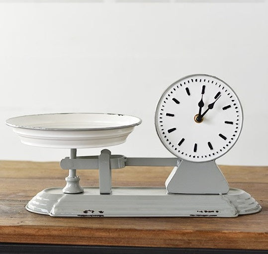 Grey Reproduction Kitchen Counter Scale Clock