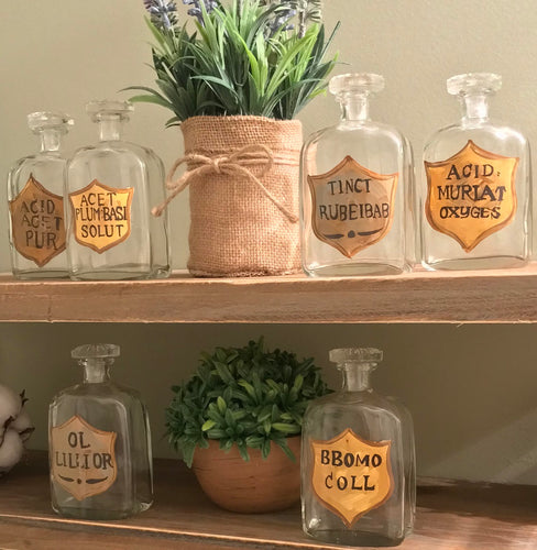 Authentic Vintage Painted Apothecary Bottles, Set of 6