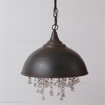 DARK Bronze and Glass Crystal Chandelier Pendant Light
