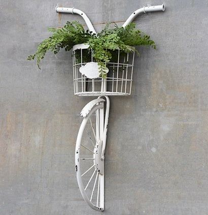 Antique White Bike and Basket Wall Decor