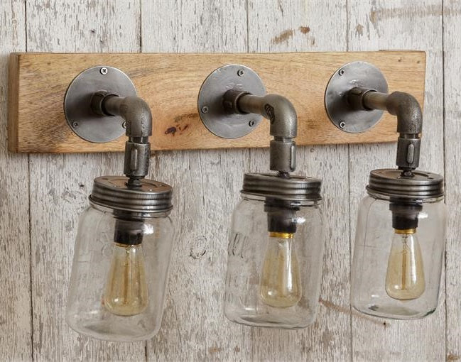 Industrial Style Mason Jar 3 Light Wall Sconce