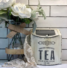Vintage Style Antique White Metal Tea Box