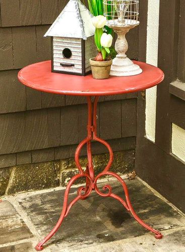 Red Metal Bistro Table