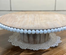 LARGE Handmade Beaded Wood Lazy Susan Cake Stand