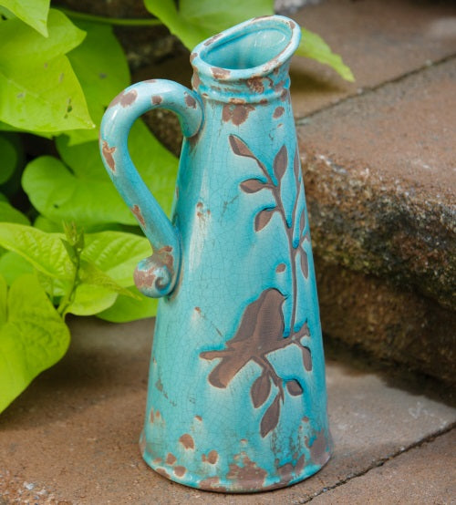 LARGE Turquoise Birds N Branches Stoneware Pitcher