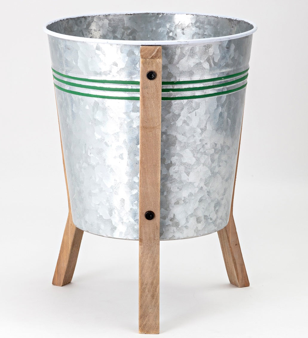 Galvanized Standing Planter with Green Striped Pattern