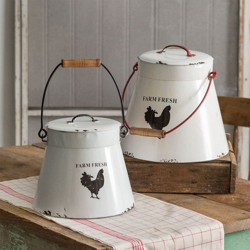 LARGE Enamel Farm Fresh Buckets, Set of 2
