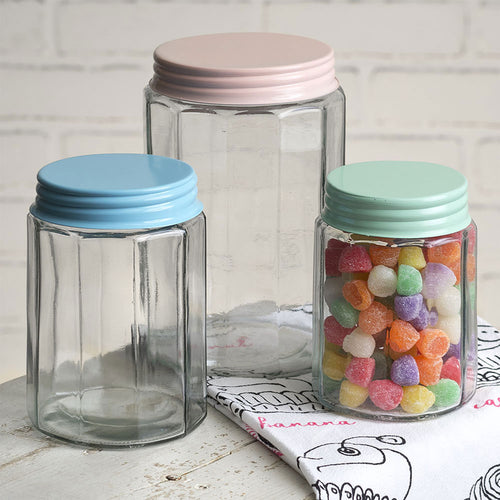 Set of Three Faceted Glass Jars