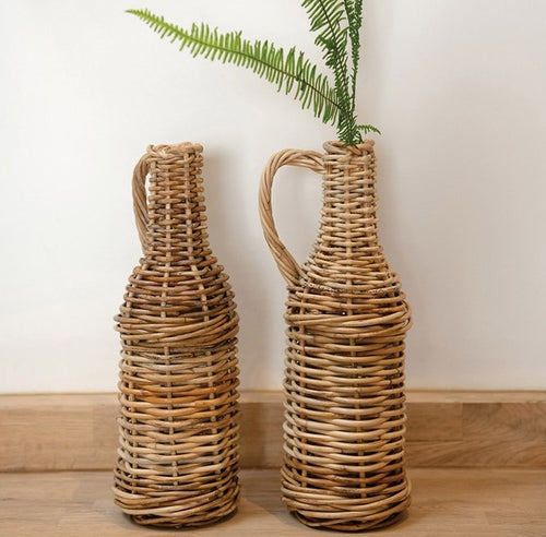 Rattan Jug with Glass Bottle