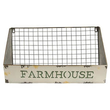 "LARGE Galvanized Metal Wire ""Farmhouse"" Wall Basket"